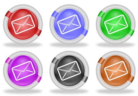 Set of mail or envelope icon buttons in pastel colors with white beveled rims   Stock Photo