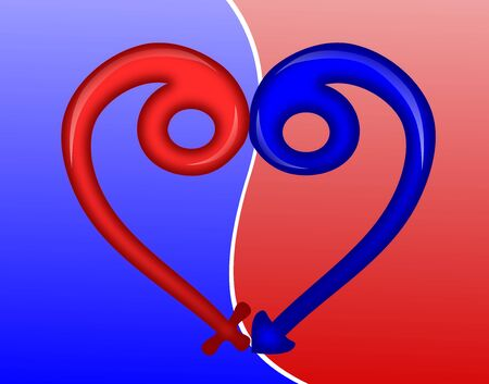 Concept of love illustrated with a male and female icon signs forming a heart shape