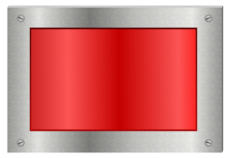 A shiny red display sign board with broad metallic chrome frame