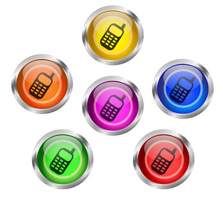 Set of shiny mobile cell phone web icon buttons in six different colors
