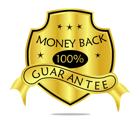 A golden 100 % money back guarantee shield with ribbon banner