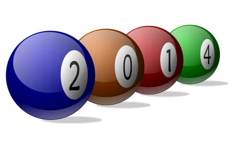 New year 2014 on colored pool balls      photo