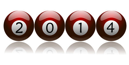 New year 2014 on red colored pool balls    Stock Photo