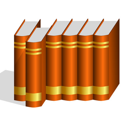 hard bound: A row of brown hard bound books with blank golden labels with one book pulled out   Stock Photo