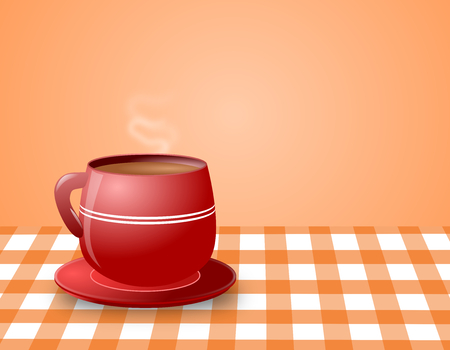 Illustration of steaming hot coffee in a red cup and saucer placed on a checkered table cloth   illustration