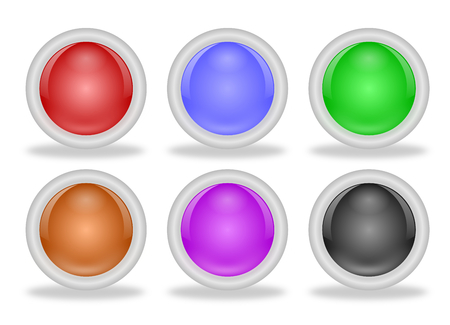 pastel shades: Set of six blank shiny web buttons with beveled white rims in six attractive pastel shades - red, blue, green, brown, lavender and black