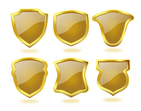 Set of six shiny glass textured brown shields with golden frames   Stock Photo