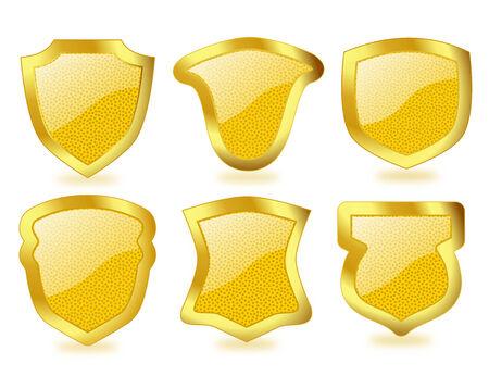 polka dotted: Conjunto de vibrantes polca escudos de cristal salpicado de grandes marcos dorados
