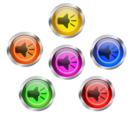 shiny buttons: Set of round shiny audio or music buttons with speaker web icon in different colors