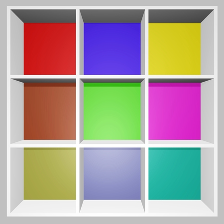 A 3D colorful product display rack with different pastel color shelves    photo
