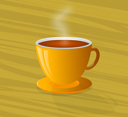 Illustration of steaming hot coffee in a yellow cup and saucer on a wooden background   illustration