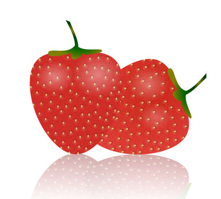 jams: Illustration of two strawberries isolated on white