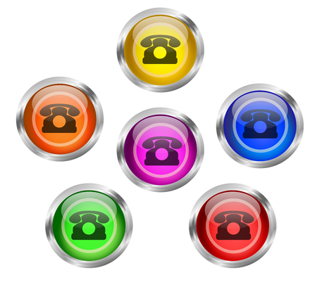 A set of shiny contact web buttons with telephone icon in different colors   photo