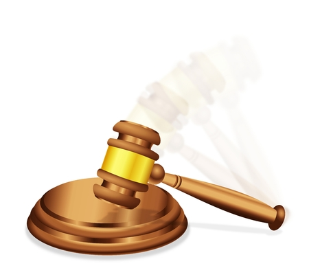 Final judgment or decision illustrated with a judges gavel mallet, with motion blur