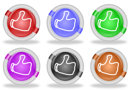 Set of six share or like web buttons with thumbs up icon, in pastel shades and with beveled white rims   photo