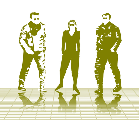 Highlighted silhouettes of three bikers, one woman and two men, clad in heavy winter biking jackets, pants and boots walking on a ramp