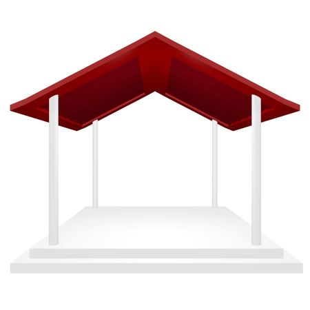 Award ceremony or presentation podium with red roof, and four pillars. This 3d gazebo or rain shelter type structure can be used for protection and coverage concepts, in addition to a product display or award and exhibition platform.