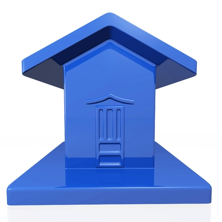 A tiny plastic model of a house in blue color. Ideal use for home icon, real estate and housing finance.