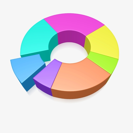 Donut or pie business analysis chart. Ideal for presenting data as percentage share in business or financial presentations - such as market share, profit, survey, expenses, income, savings, investment reports.