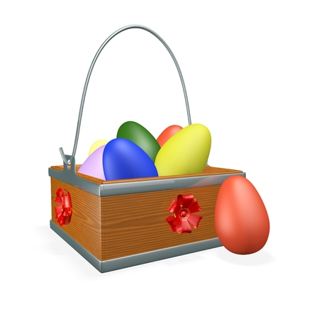 A 3D square wooden basket with steel handle, decorated with ribbon bows, filled with colorful painted Easter eggs.