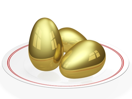 accrue: Three gold eggs kept in a ceramic dining plate. Can be used for concepts of health as well as wealth