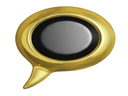 Golden speech or chat bubble with blank black copyspace area. Can be used for chatting, communication, feedback concepts