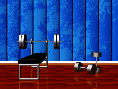 Home gym setup with a benchpress bench holding a chrome barbell and two steel dumbbells lying on the wood floor. Ideal use in training, bodybuilding, exercising and health concepts