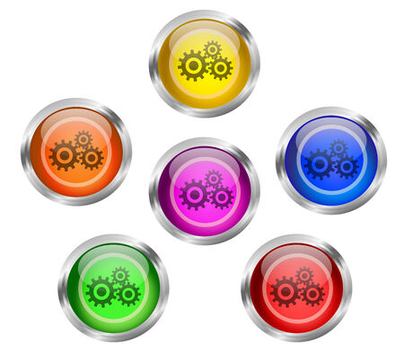 Set of shiny mechanical gears round web icon buttons in six different colors - yellow, orange, red, green, pink blue, with silver or chrome metallic rim. photo