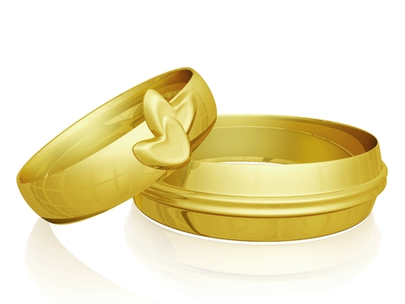 Two gold wedding bands, 3d illustration, with one band for the groom and one with heart design for the bride. Can be used for wedding, jewellery and love relationship concepts. illustration