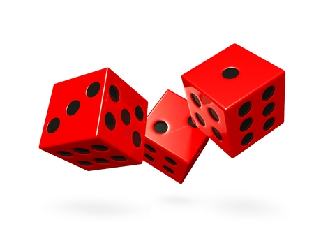 Three shiny red game dice rolling or falling down. This 3d render will find use in gaming, casino, gambling and fate concepts. Stock Photo