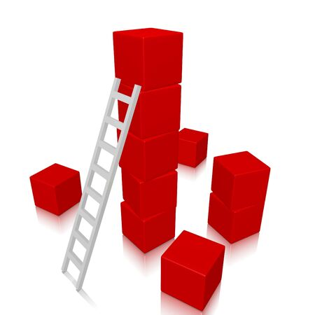stacking: A white ladder against a tall stack of red 3d cubes, with some cubes scattered on the floor. Can be used for success, achievement, organizing, building and progress concepts.