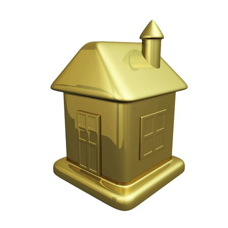housing estate: A tiny model of a house in gold. It can be used either as an icon or for housing and real estate concepts. Stock Photo