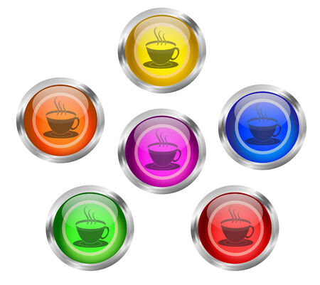 caf: Set of shiny tea or coffee cup round web icon buttons in six different colors - yellow, orange, red, green, pink blue, with silver or chrome metallic rim. Can be used on menu and banners of caf? and restaurant. Stock Photo