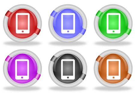 touch screen phone: Set of  touch screen smart phone web icon buttons with beveled white rims in six pastel colors - red, blue, green, pink, black and brown Stock Photo