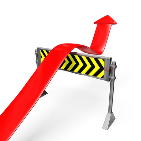 This 3D illustration shows a business or financial growth arrow crossing over a road block barrier of hurdle. The image will find use in business, financial, career or personal growth concepts. illustration