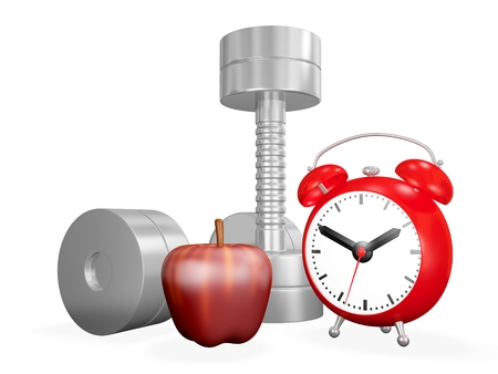 An exercise and fitness 3D illustration showing a pair of chrome dumbbells, a red apple and an alarm clock. Ideal for use in exercising, fitness, sports, bodybuilding and health concepts.