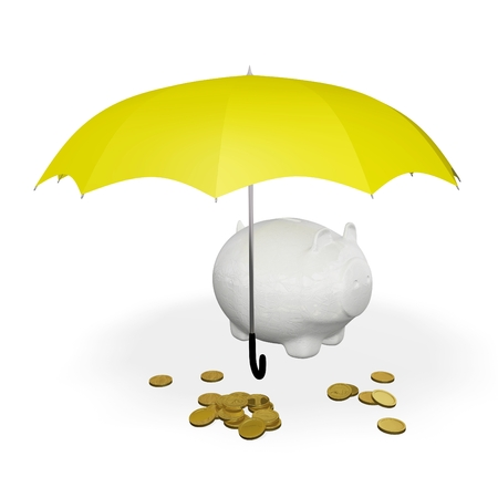 This 3D illustration has an umbrella covering a piggy bank and some scattered gold coins. Ideal for use in business and financial concepts like saving money and  protecting wealth. Stock Photo