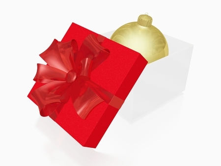 This 3D illustration has a golden Christmas ball bauble inside an open  gift box with a red lid and ribbon bow. Ideal for use in Christmas, new year and gifting concepts. Stock Photo