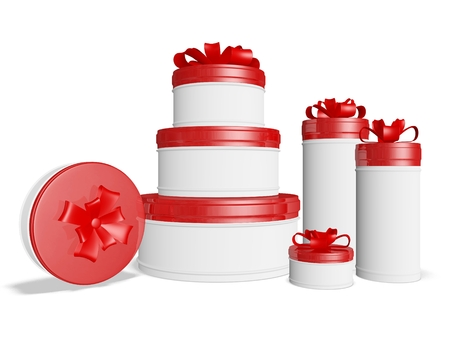 lids: The 3D illustration has lots of round gift boxes with red lids and festive bow ribbons. It is ideal for use in festival, celebration, occasion, gifting and discount sales concepts.