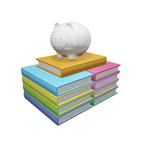 hard bound: This 3D illustration  shows a piggy bank on a pile of hard bound books. The image will find use in financial and education concepts like saving for higher education and saving money on children education. Stock Photo