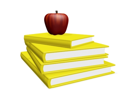 hard bound: This 3D illustration shows a red apple lying on top of a stack or pile of yellow hard bound books. The image is best suited for education, learning and wisdom related concepts.