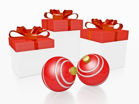 This 3D illustration shows three festive gift boxes with red lids and bow ribbons and two red Christmas decoration baubles or ornaments. Ideal for use in gifting, celebration, discount sales, Christmas and new year concepts. Stock Photo