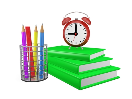 pencil holder: This is a 3D illustration of an alarm clock placed on a stack or pile of green hard bound books, with a chrome pencil holder containing pencils and a measuring scale. This image will find use in study and education concepts like study schedule or homework Stock Photo