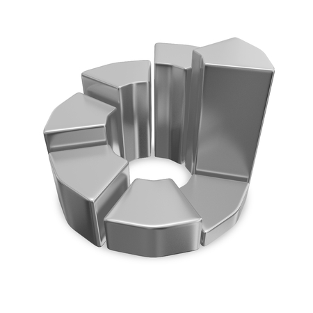 This 3D illustration is of a chrome business growth pie chart. It is most suitable for business and financial presentations showing time based growth.