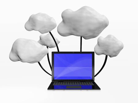 Cloud computing concept depicted with a 3D illustration of a laptop computer connected to clouds. This is suitable for cloud computing and remote database servers concepts.