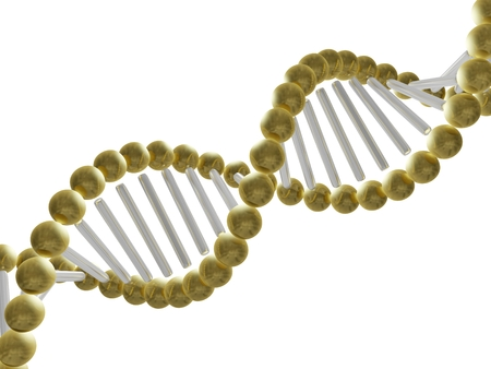 A 3D illustration showing a close up of the DNA structure. This can be used for health, medicine, biology, genetics and scientific research related concepts. Stock Photo