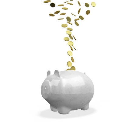The 3D illustration shows gold coins flowing or falling into a piggy bank, isolated on white. It is ideal for use in business and financial concepts like saving money, increasing earnings and wealth building. Stock Photo