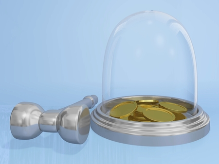 The 3D illustration shows a glass globe type piggy bank containing gold coins and chrome or steel hammer lying along side. It is ideal for use in business and financial concepts like quick money, emergency funds and using savings money. illustration