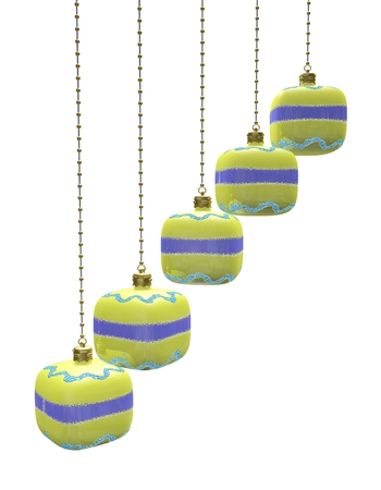 This 3D illustration shows a row of cube shaped Christmas decoration baubles hanging from metal chains. The image will find use in decoration, festivals, celebration, Christmas and new year related concepts. illustration