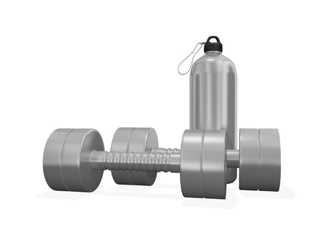 This 3D illustration shows a steel gym bottle along with a pair of chrome exercise dumbbells. It will find use in health and fitness concepts like bodybuilding, exercising, strength training and muscle building concepts.